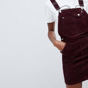 ASOS design tall corduroy overall dress in maroon